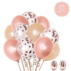 Idea Regalo - 55 palloncini in oro rosa + 20 m di nastro | Coriandoli oro rosa, oro rosa + champagne | Palloncini in lattice da 12 pollici | Decorazioni per matrimoni, addio al nubilato, compleanno e baby shower