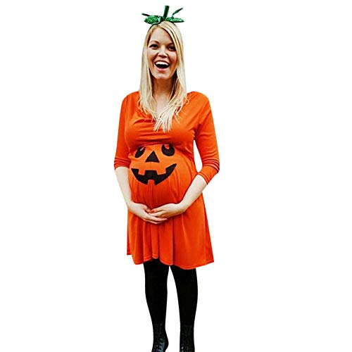 Writtian Damen Halloween Pumpkin Spinnennetz Fledermäuse Totenköpfe Horror Schädel Kleider Damen Kostüm große größen Langarm Kleider für Karneval Fasching Umstandsmode Knielang A-Linie Kleider