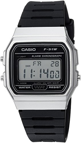 Casio Herren Armbanduhr 'Classic' Quarz Metall und Resin Casual, Farbe: Schwarz (Modell: f-91wm-7acf)