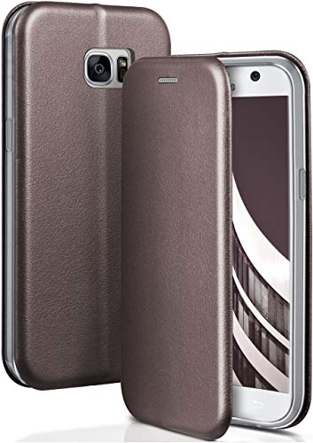 ONEFLOW® Premium Booklet mit unsichtbarem Magnetverschluss + Aufstellfunktion kompatibel mit Samsung Galaxy S7 | Exklusive Lederoptik, Anthrazit