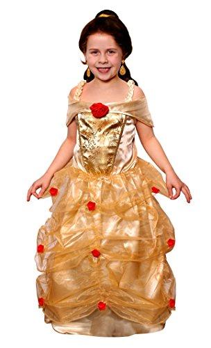 Oz Zauberer Theater Von Der Kostüm - ILOVEFANCYDRESS Kinder Bell DIE SCHÖNE KOSTÜM VERKLEIDUNG=MUSIKAL Theater AUFFÜHRUNGEN MÄRCHEN Fasching Karneval Schule=GOLDENES Kleid MIT ROTEN Rosen SCHULTERFREI MIT Gummizug=SMALL