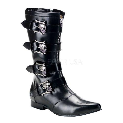 Demonia Brogue-107 Herren Kurzschaft Stiefel Blk Nappa Vegan Leather