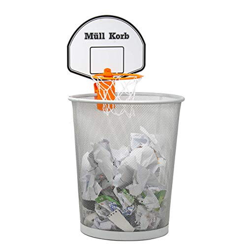 KrockaZone Mini Basketballkorb für den Mülleimer/Papierkorb mit kleinem Ball - Spaß fürs Zimmer/Büro/Zu Hause