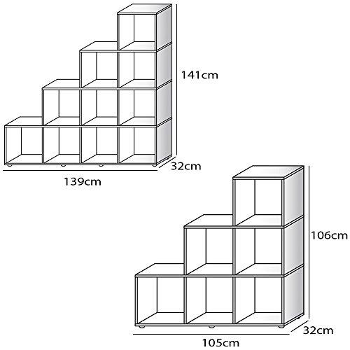 Stufenregal P82 Typ 10 stirling eiche Bücherregal Treppenregal Regal Sideboard Raumteiler Aktenregal Ordnerregal