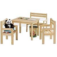 Preisvergleich für Home4You Sitzgruppe Kindersitzgruppe Kindertischgruppe Kai | Holz Kiefer Massiv | Tisch, 2 Stühlen & Sitzbank