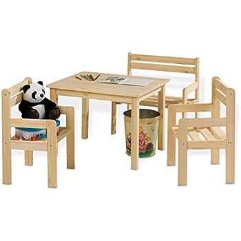 tisch mit stuhlen sitzgruppe kindersitzgruppe kindertischgruppe kai holz kiefer massiv 2 sta 1 4 hlen sitzbank zu verschenken