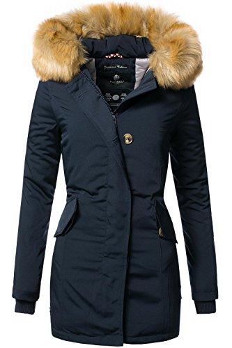 Marikoo Damen Winter Mantel Winterparka Karmaa XS-XXXXXL (vegan hergestellt) Navy Gr. 3XL
