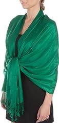 Idea Regalo - Sakkas Tocco Morbido Silk Pashmina sentire Solido Scialle/Stole per Donna-Verde smeraldo