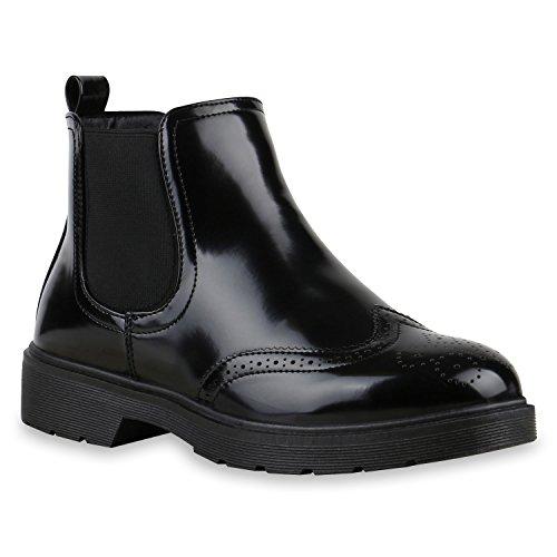Damen Chelsea Boots Stiefeletten London Look Schuhe Schwarz