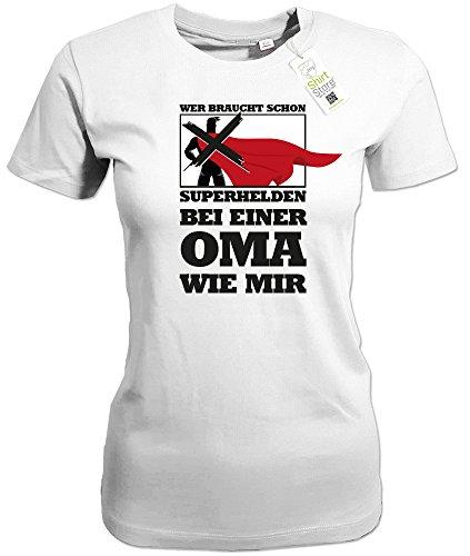 Jayess Wer Braucht Schon Superhelden - Bei Einer Oma Wie Mir - Weiss - Women T-Shirt by Gr. XL
