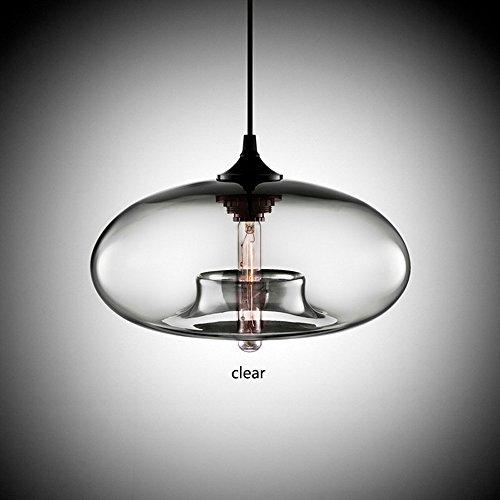 Pointhx Pendentif Lampe Contemporaine Suspendue 6 Couleur Coloré Boule De Verre Pendentif Lumières Luminaires E27 Transparent Plafond Suspendu Lampe pour Cuisine Restaurant Café Bar ( Color : Clean )