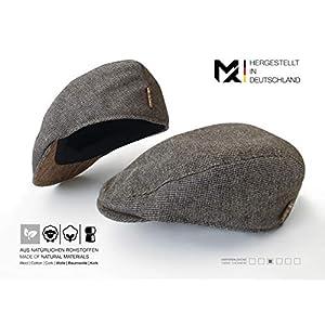 Hergestellt in Deutschland | MAY-TIE Flat Cap | Schirmmütze aus 100% Schurwolle mit Kork | Style: Houndstooth | Herren Schiebermütze, Barett