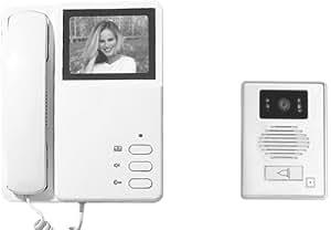 Electraline 59222 Videocitofono con Schermo ad Alta Risoluzione con 4 Fili, Bianco