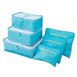 Packing Cubes – Love2travel 6pcs Sets Travel Storage Bag Organizer Luggage Compression Pouches (Blue)