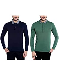 Dream Of Glory Inc. Men's Branded Full Sleeve Cotton Buttoned Collar Polo Pocket T-Shirts Men Also In Plus Sizes...
