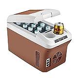 MENUDOWN Mini Refrigerador,Refrigerador del Coche 15L Neveras De Viaje Portátil Refrigerador Congelador Coche Y El Hogar Están Disponibles 12v / 24v / 220V Frío Caliente,Brown