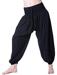 Hippie Goa Psy Damen Pluderhose aus Baumwollstoff Haremshose Aladinhose