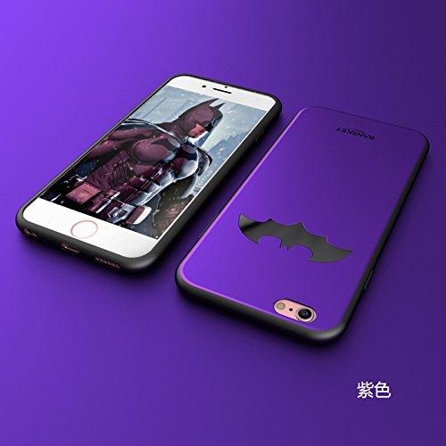 RONNEY'S BANSKEY Batman Soft TPU Case For Apple Iphone 6/6S BLACK PURPLE