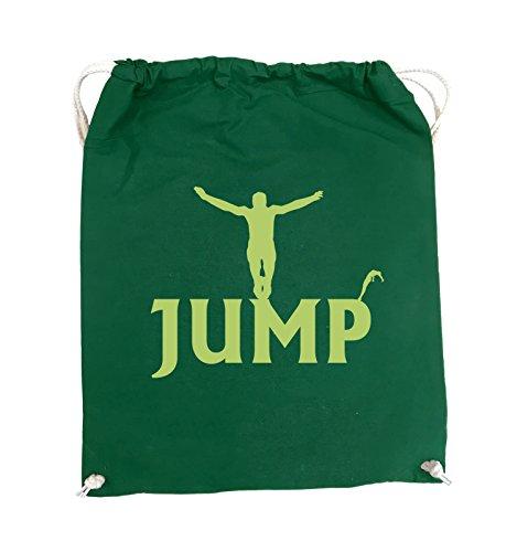 Comedy Bags - JUMP - FIGUR - Turnbeutel - 37x46cm - Farbe: Schwarz / Pink Grün / Grün