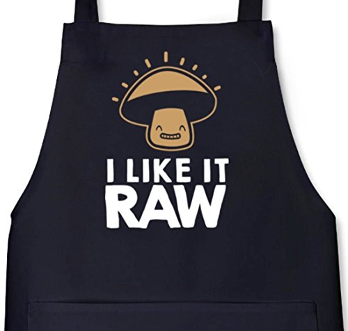 I Like It Raw, Rohkost Vegetarier Vegan Grillen Barbecue Grill Schürze Kochschürze Latzschürze, Größe: onesize,Schwarz