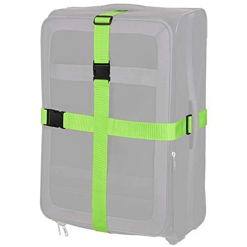 TRAVELTO Gepäckgurt zum Verschließen von Gepäck, Maße 5x200 cm (2 Stück), Neongrün, Koffer-Gurt, Gepäck-Gurt