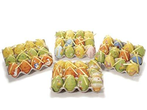 Espositore con 12 uova di pasqua dipinte a mano - made in italy
