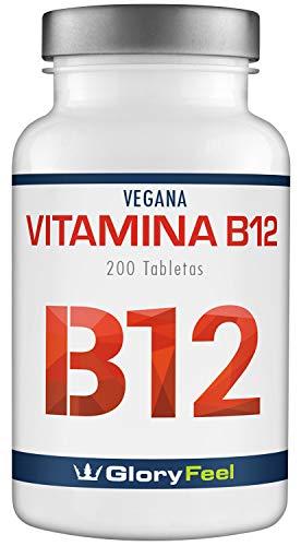 GloryFeel® Vitamina B12 Sublingual - 200 Comprimidos de vitamina b12 con 1000 mcg - Vitamina B12 - Vitaminas B12 Meticobalamina