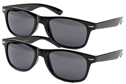 2 er Set EL-Sunprotect® Nerdbrille Brille Nerd Sonnenbrille Hornbrille Way Style Schwarz Smoke Dunkle Glässer