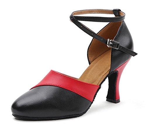 Mel Rasgou Mulheres Falso Saltos De Couro Sapatos De Salto Alto Com Sapatos Tornozelo Cinta De Dança De Salão Vermelho