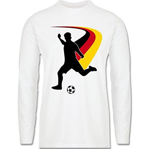 EM 2016 - Frankreich - Fußballspieler + Deutsche Flagge - Longsleeve / langärmeliges T-Shirt für Herren Weiß