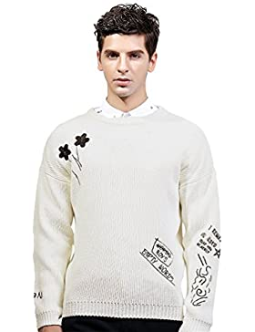 Jitong Uomo Maglione a Ricamo Morbido Maglia a Girocollo Slim Fit Sweater Pullover a Maniche Lunghe