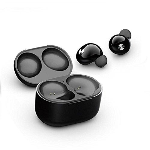 Joyeer Mini Bluetooth Kopfhörer Ultraleichte Tragbare Drahtlose Binaurale Kopfhörer Wasserdichte Noise Cancelling mit Lade Box für Apple iPhone Android Handys, Black thumbnail