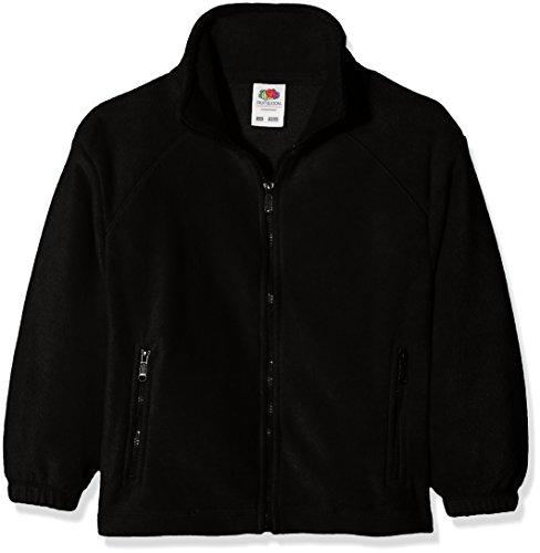 Fruit of the Loom Jungen Sweatshirt Full Zip Fleece Kids, Schwarz (Black 101), 152 (Herstellergröße: 12-13) (Kinder Full Zip Fleece)