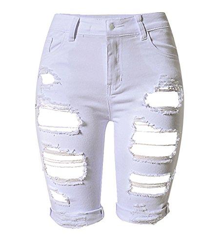 Tribear Damen Denim Stretch Jeans Hohe Taille Skinny Distressed Kurze Jeans (EU 38(6), Weiß) (Taille Jeans Hohe)