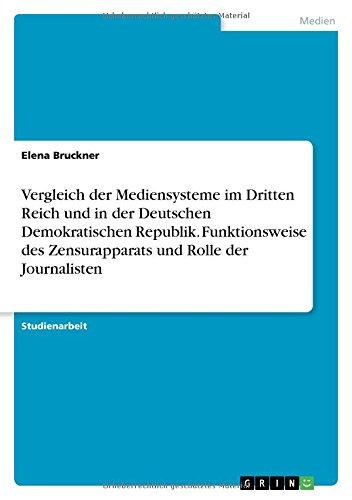 Vergleich der Mediensysteme im Dritten Reich und in der Deutschen Demokratischen Republik. Funktionsweise des Zensurapparats und Rolle der Journalisten
