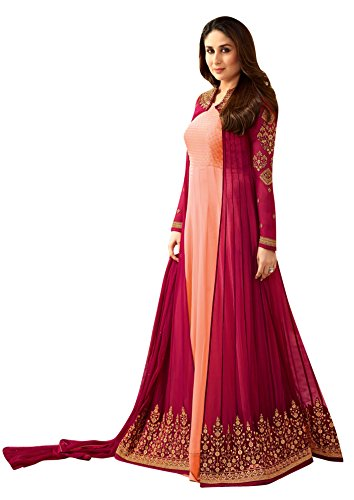 Orange Fab Women's Georgette Embroidered Demi Stitched Long Anarkali suit with Jacket (OFVINAY-6187, Peach, XXL)