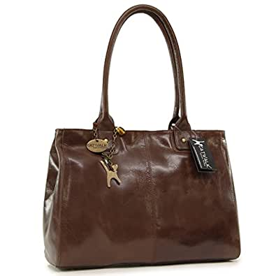 "Borsa tote grande in pelle a spalla di Catwalk Collection ""Kensington"" - Marrone"