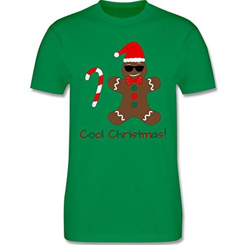 Weihnachten Geschenk für Erwachsene - Cooler Lebkuchenmann mit Zuckerstange - L190 - Premium Männer Herren T-Shirt mit Rundhalsausschnitt Grün