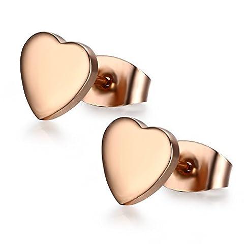 Vnox Women's Girl's Stainless Steel 14K Rose Gold Stud Earrings Heart Shape Fashion Jewelry,Butterfly
