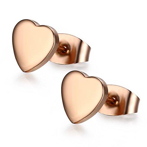 Vnox Frauen Mädchen Edelstahl 14K Rosen Goldbolzen Ohrring Herz Form Art und Weiseschmucksachen,Schmetterlings Haken