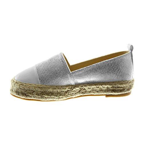 Angkorly Damen Schuhe Espadrilles - Slip-On - Bi-Material - Plateauschuhe - Glänzende - Seil - Fertig Steppnähte Blockabsatz 3.5 cm Weiß