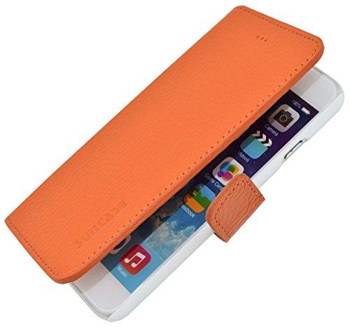 iPhone 6 / 6s (4.7 Zoll) *ECHT LEDER* Book-Style Ledertasche Tasche Handytasche Case Etui Hülle (Original Suncase®) türkis orange