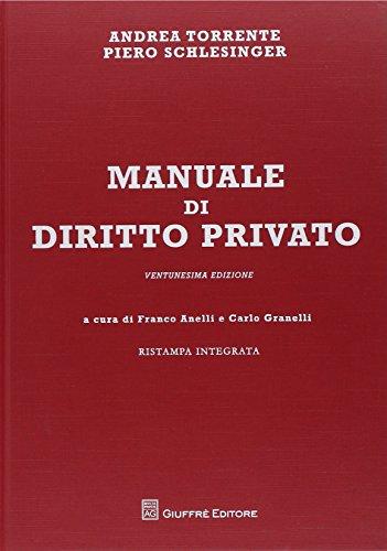 Manuale di diritto privato - Ristampa emendata Ventunesima edizione