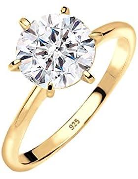 Elli Damen-Ring Verlobungsring vergoldet 925 Silber Kristall Brillantschliff