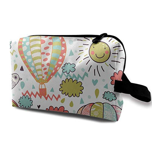 Hot Air Ballon Sunshine Lady Make-up Organizer Clutch Bag with Zipper Toiletry Storage Pouch ()