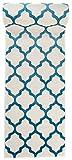 Läufer Teppich Brücke Teppichläufer - Orientalisches Marokkanische - Flur Modern Designer Muster Meterware - Casablanca Kollektion von Carpeto - Weiß Türkis Blau - 70 x 125 cm