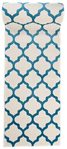 Läufer Teppich Brücke Teppichläufer - Orientalisches Marokkanische - Flur Modern Designer Muster Meterware - Casablanca Kollektion von Carpeto - Weiß Türkis Blau - 70 x 200 cm