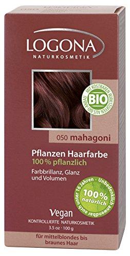 Haarfarbe Ausspülen (LOGONA Naturkosmetik Coloration Pflanzenhaarfarbe, Pulver - 050 Mahagoni - Braun, Natürliche & pflegende Haarfärbung (100g))
