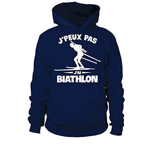 TEEZILY Sweat à Capuche J'peux Pas Biathlon Unisex