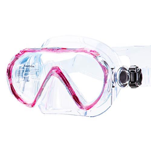 AQUAZON Beach Junior Medium Schnorchelbrille, Taucherbrille, Schwimmbrille, Tauchmaske für Kinder, Jugendliche von 7-14 Jahren, Tempered Glas, sehr robust, tolle Paßform, Colour:pink